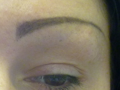 Before with clients own design with brow pencil